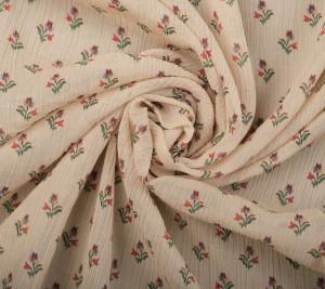 Wiskoza kreszowana - kwiaty na beżowym tle