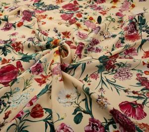 Krepa jedwabna grubsza - kwiaty na żóltym tle