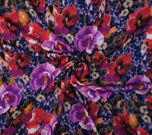 Krepa jedwabna - fioletowo-różowe kwiaty