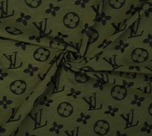 Żakard khaki sygnowany LV - duże logo