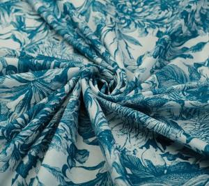 Włoska bawełna cienka drukowana - niebieska