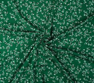 Wiskoza kreszowana zielona - lączka kwiatowa