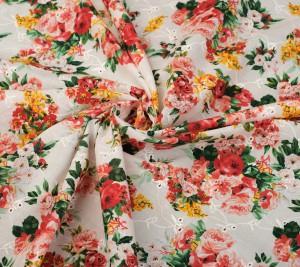 Bawełna w kwiaty - angielski haft