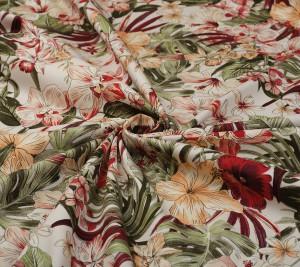 Bawełna z elastanem - grubsza - kwiatowy wzór