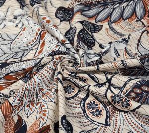 Bawełna z elastanem - gładka - roślinny wzór
