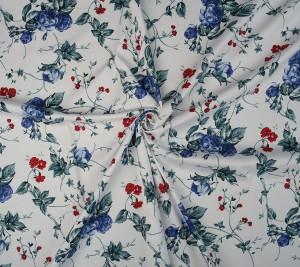 Bawełna V. Westwood w  niebiesko-czerwone kwiaty