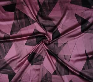 Satyna jedwabna z elastanem różowa - geometryczny wzór