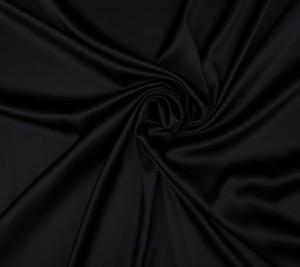 Satyna jedwabna z elastanem - czarna