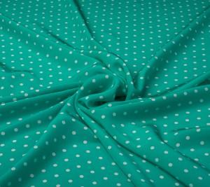 Krepa jedwabna w groszki - jasno zielona