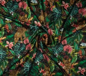 Satyna jedwabna - motyw Dżungla - sygnowana Dolce