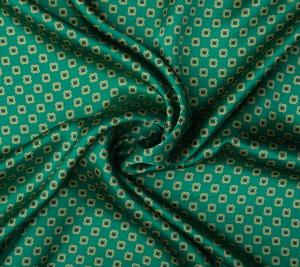 Satyna jedwabna zielona - geometryczny wzór