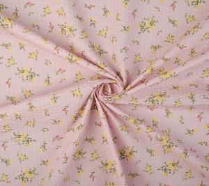 Bawełna kreszowana - kwiaty na rózowym tle