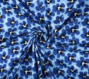 Włoska bawełna popelina - granatowe kwiaty