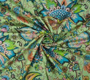 Włoska bawełna z elastanem - jasnozielone tło