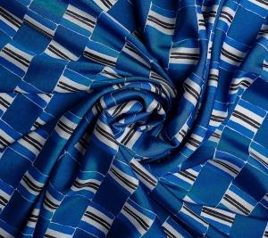 Niebieska morska krata. Włoska tkanina
