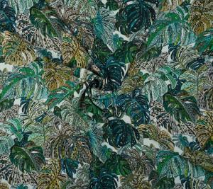 Wiskoza - Krepa - kolorowe liście - monstera