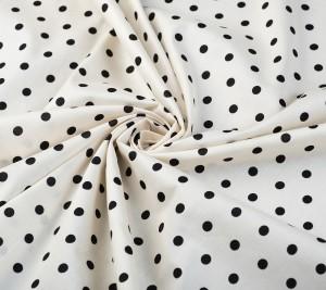 Tkanina bawełna - czarne groszki na beżowym tle