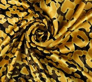 Satyna jedwabna kreszowana - czarno-żółta