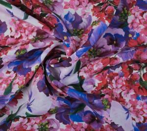 Krepa jedwabna - kwiaty różowo-fioletowe