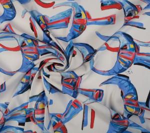 Wiskoza elastyczna sygnowana Stella Jean - abstrakcja - duży wzór