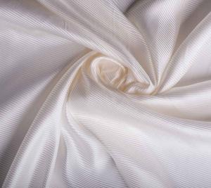 Włoski jedwab w prążki - biały