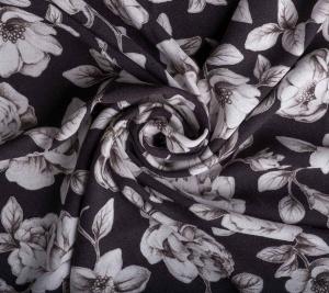 Wiskoza drukowana-wielkie białe róże
