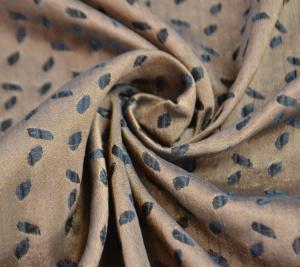 Żakard brązowy - drobne liście