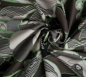 Bawełna - ciemne kwiaty i zieleń