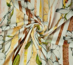 Bawełna - kwiaty w paski