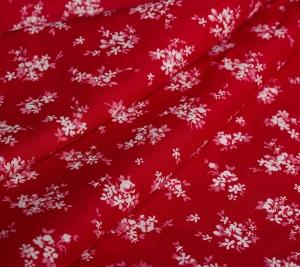 Bawełna czerwona w białe kwiaty