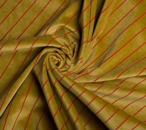 Aksamit bawełniany - musztarda w czerwone paski