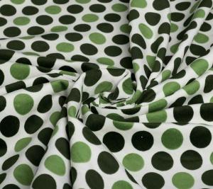 Aksamit bawełniany w zielone kropki