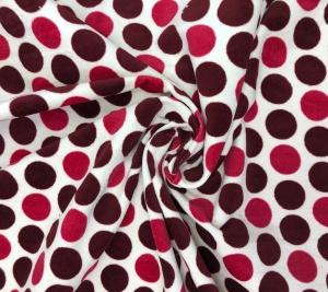 Aksamit bawełniany w czerwone groszki
