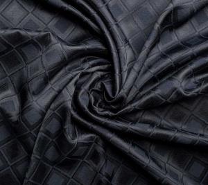 Żakard wiskozowy z jedwabiem - czarna kwadraty