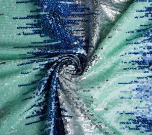 Materiał cekiny na bawełnie -  niebiesko-zielone