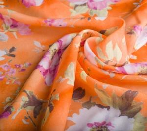 Wiskoza pomarańczowa w kwiaty