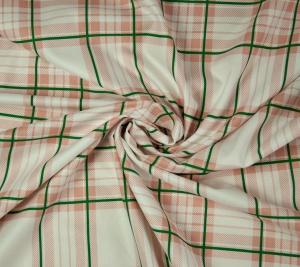 Bawełna biała - zielono różowa krata