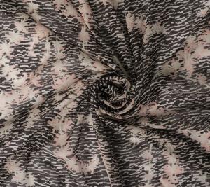 Włoski muślin jedwabny - melanż i kwiaty