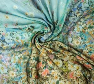 Tkanina wełniana kwiaty  kupon-1,5m