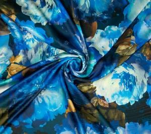 Włoska satyna jedwabna drukowana  -  duże kwiaty