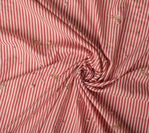 Bawełna haftowane kwiaty na czerwono-białym tle