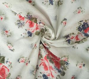 Len drukowany - róże na białym tle