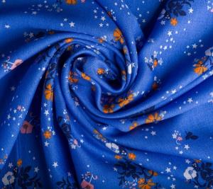 Wiskoza w kolorze morskim - kwiatki