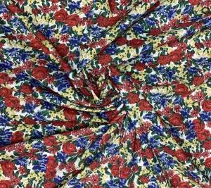 Bawełna organiczna - kolorowe kwiaty