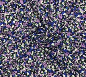 Włoski len z bawełną - kolorowe kwiaty