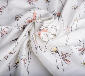 Wiskoza biała w kwiatki