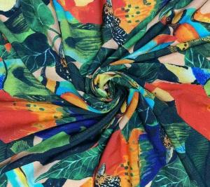 Wiskoza krepowa miękka - kolorowe ptaki