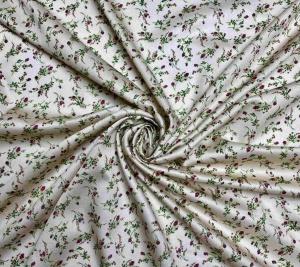 Bawełna organiczna - róże na złotym tle