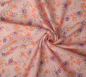 Len z bawełną  kolorowe kwiaty