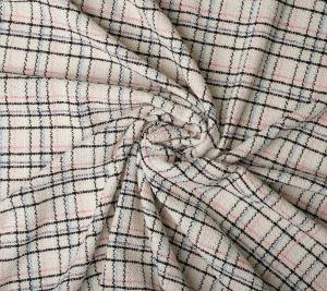 Chanelka tkanina bawełniana w kratę biała